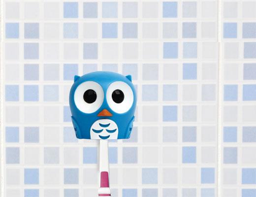 Toothbrush holder owl blue