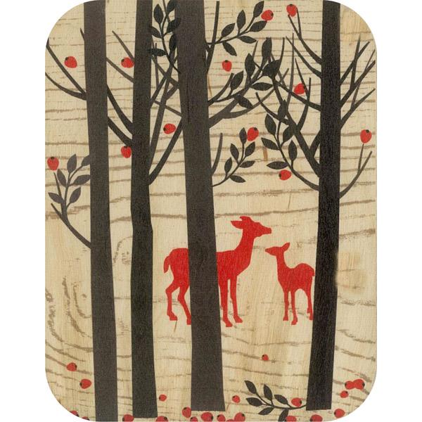 Wooden card deer in woodland