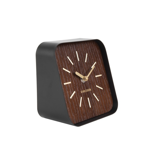 Table clock squared black steel