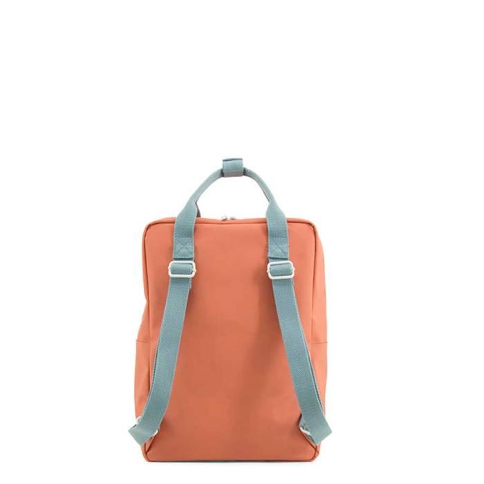 Backpack envelope large rusty red denim blue