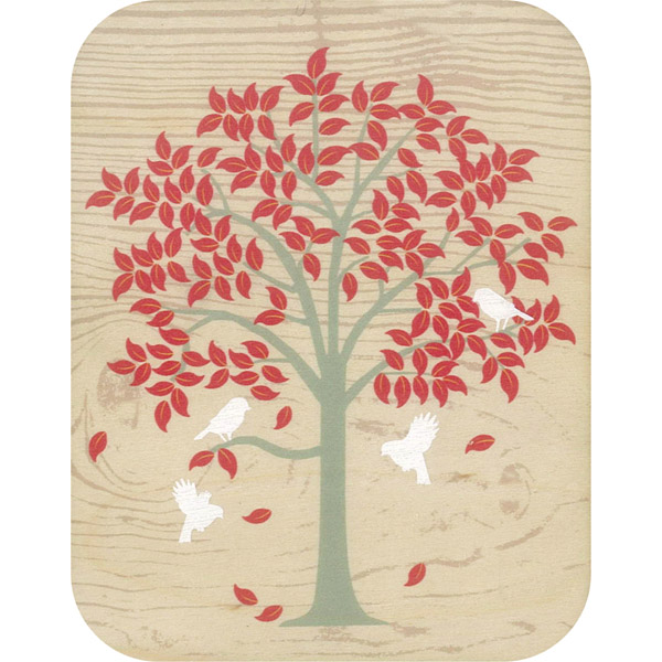 Wooden card red tree white birds