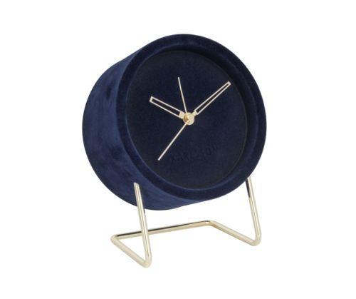 Alarm clock lush velvet dark blue
