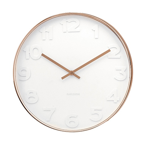 Wall clock mr. white numbers copper 37,5 cm