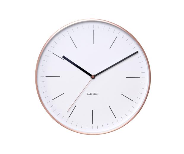 Minimal clock copper white