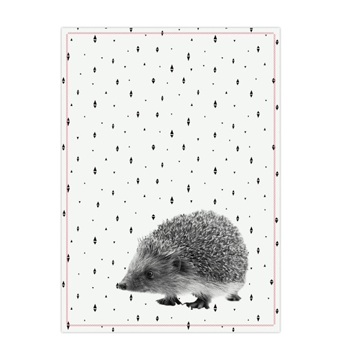 Tea towel hedgehog cotton pink stitch