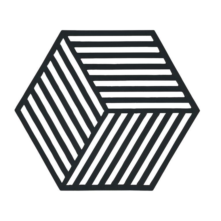 Trivet black hexagon