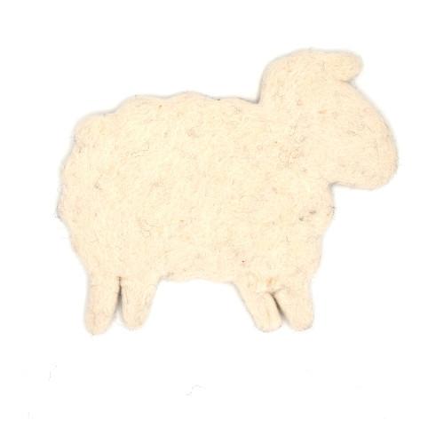 Wool felt sheep trivet white