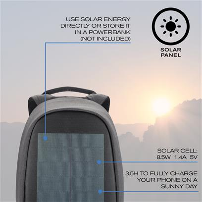 Bobby tech anti-theft backpack solar black