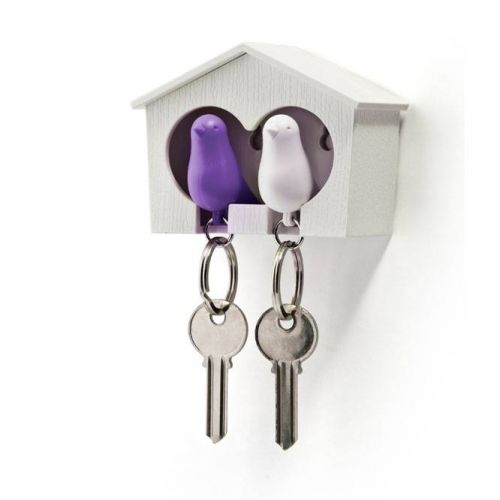 Sparrow keyring duo paars wit