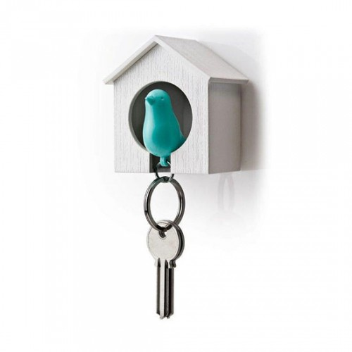 Sparrow keyring blauw-wit