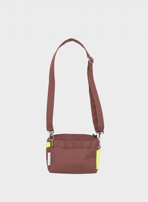Bum bag brown & fluo yellow S