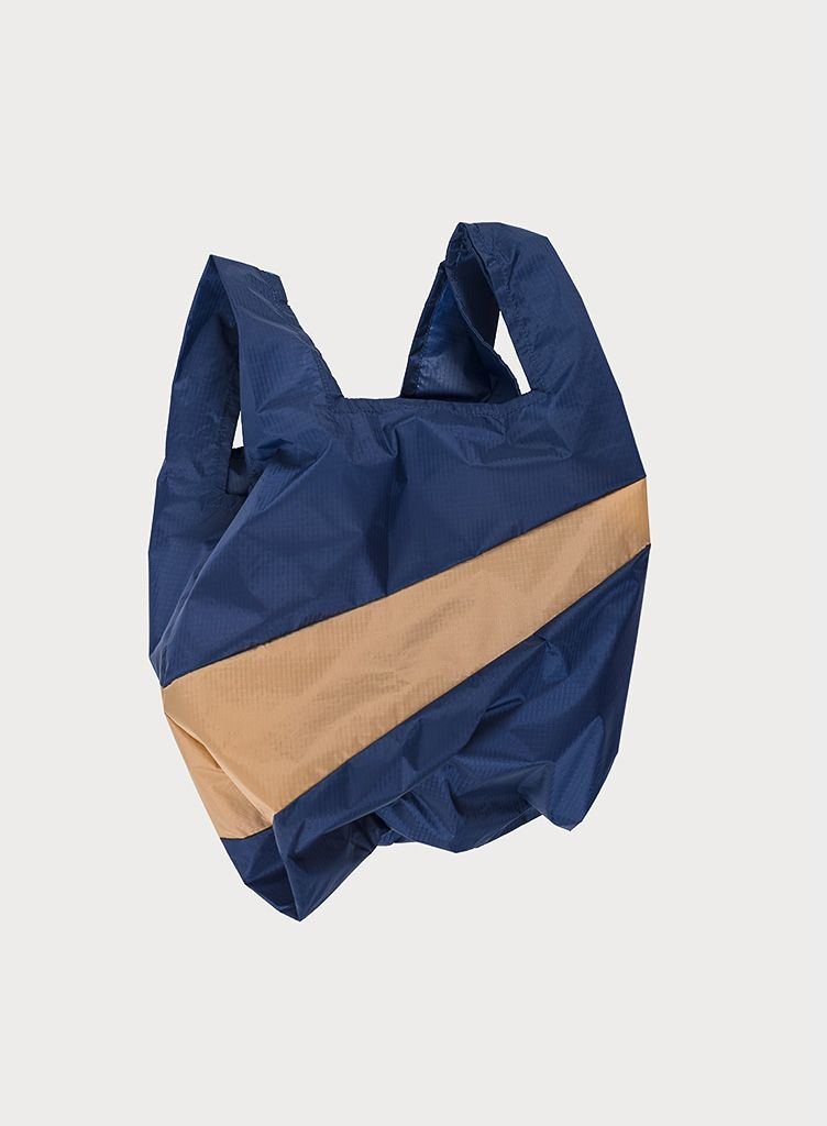 Shoppingbag navy & camel S