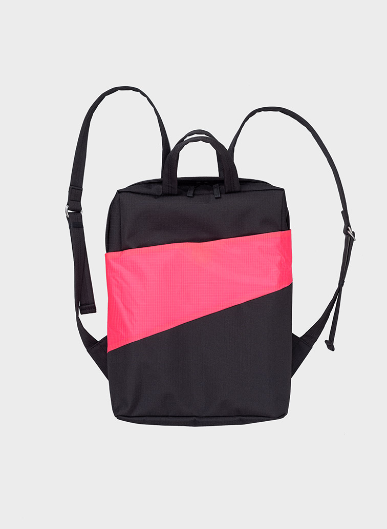 Backpack black & fluo pink