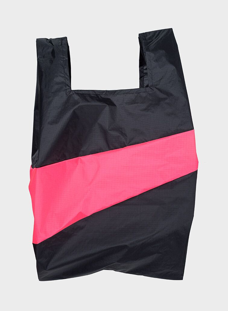 Shoppingbag 2008 black & fluo pink L