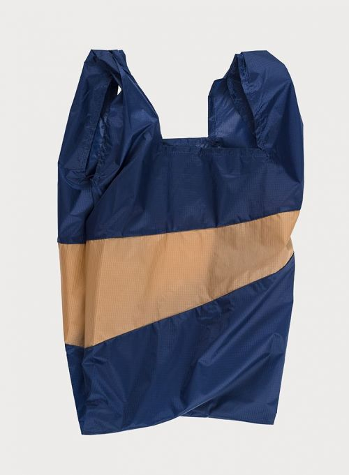 Shoppingbag navy & camel L