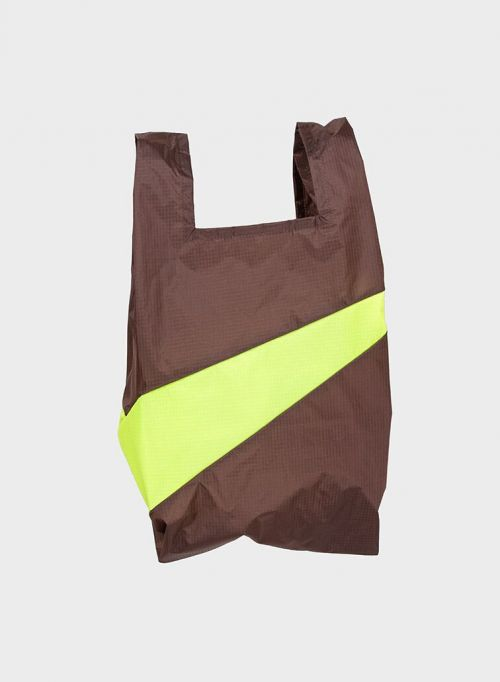 Shoppingbag 2003 brown & fluo yellow S