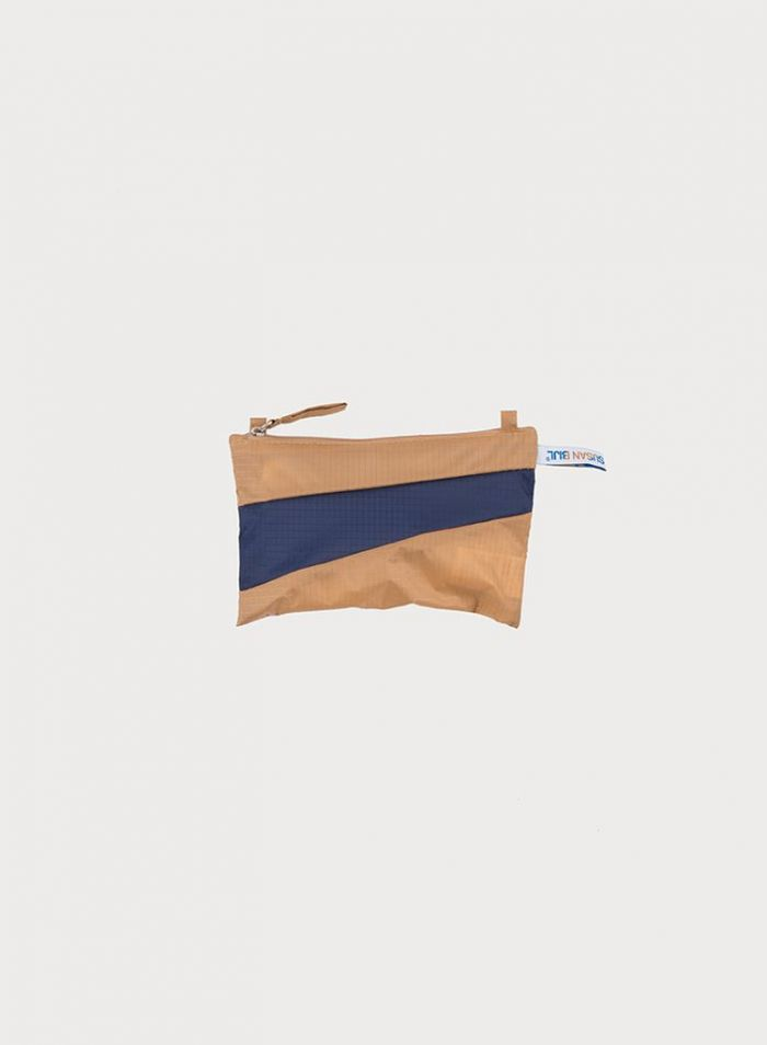 Pouch camel & navy S