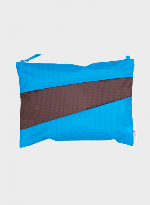 Pouch sky blue & brown S
