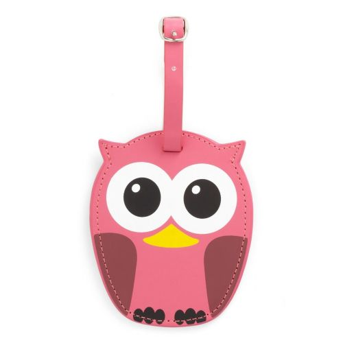 Luggage tag owl pink