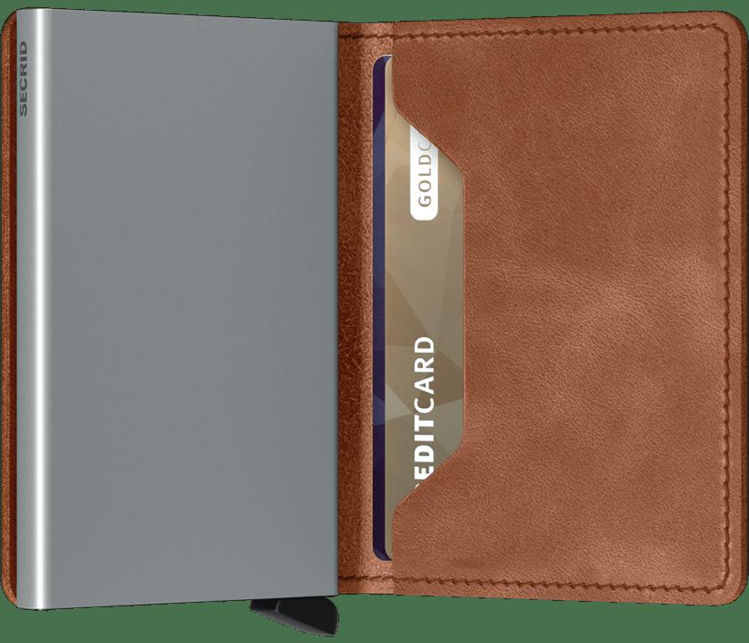 Slim wallet vintage cognac silver