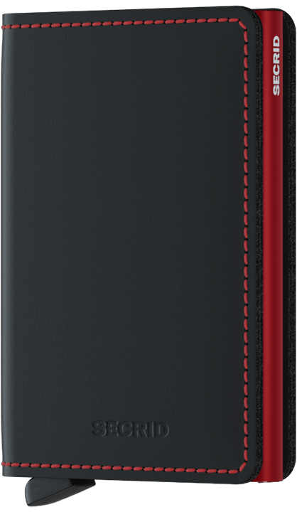 Slim wallet matte black & red
