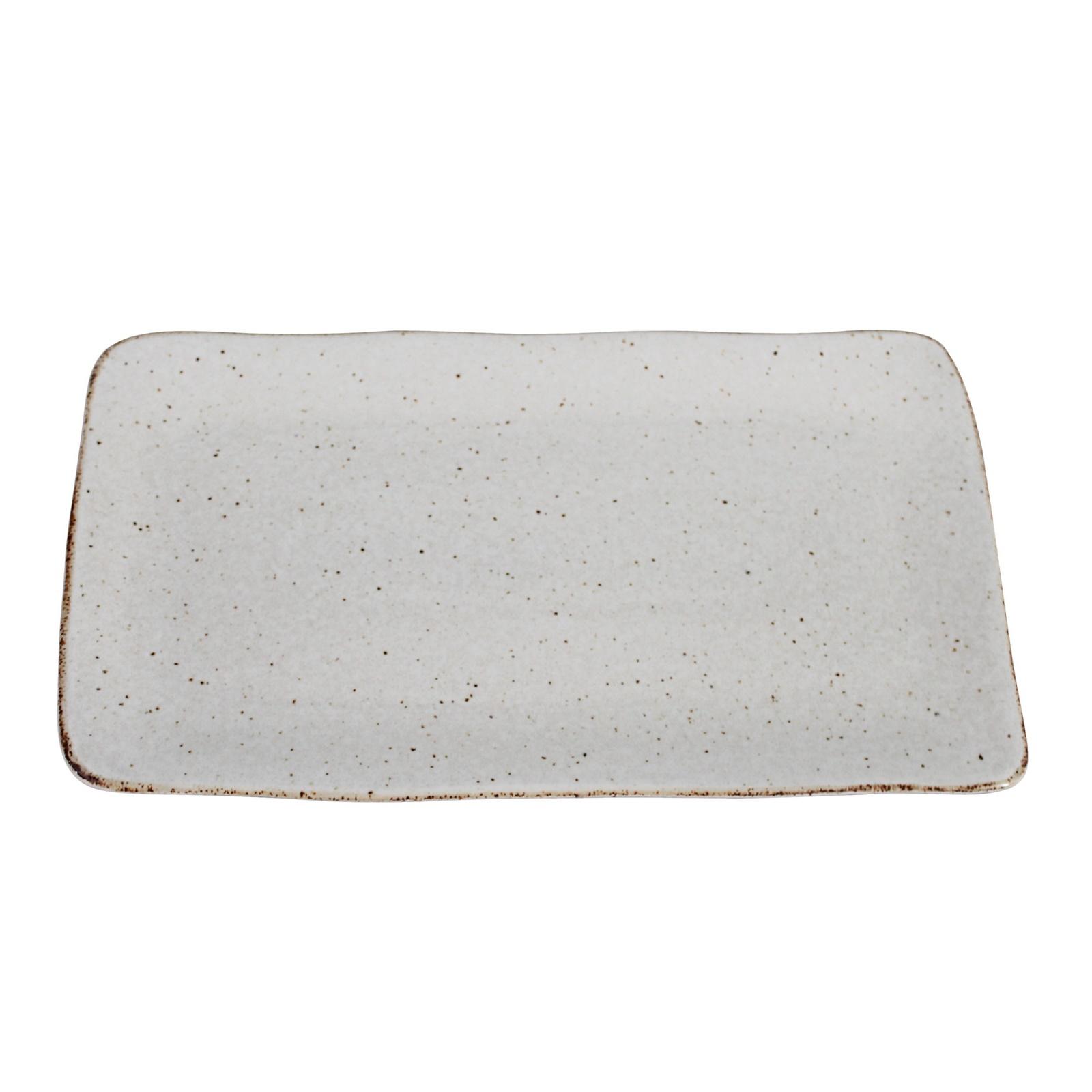 Schaal stone rechthoek groot creme