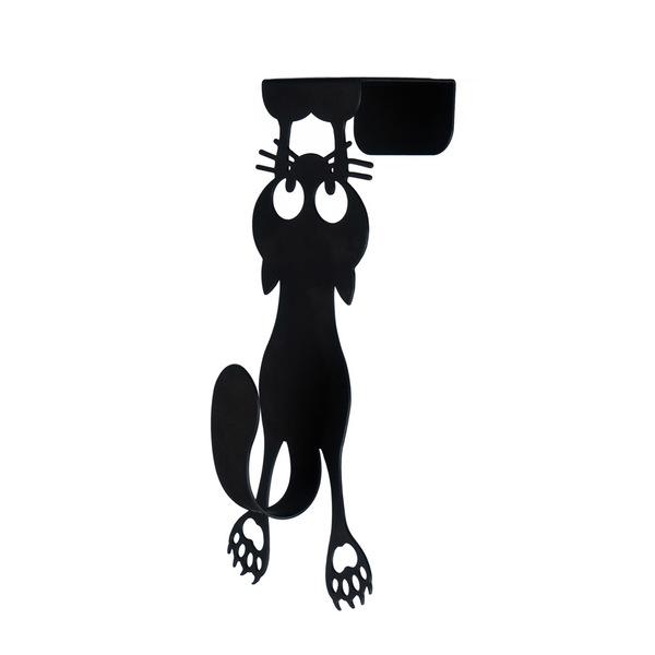 Door hanger curious cat black