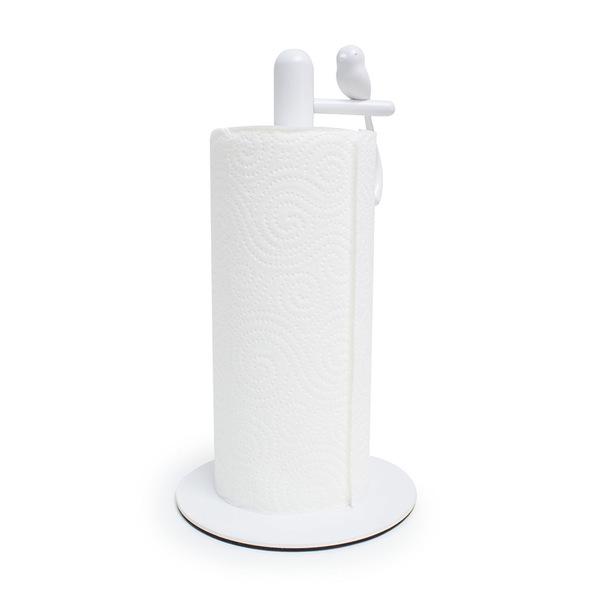 Kitchen roll holder birdie white metal