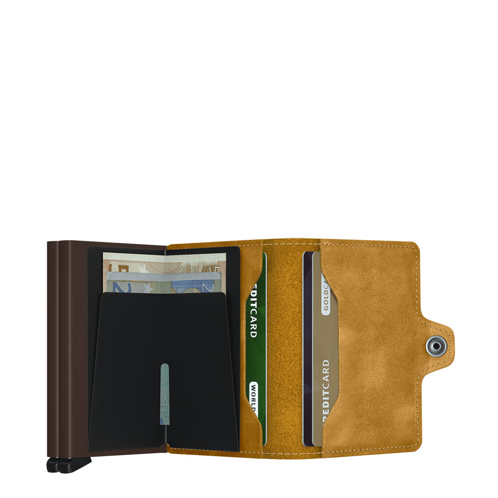 Twin wallet vintage ochre
