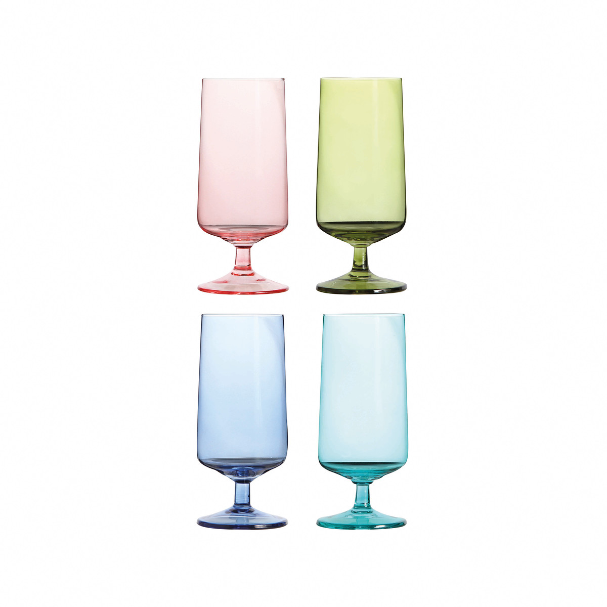 Beer glass multicolour set of 4