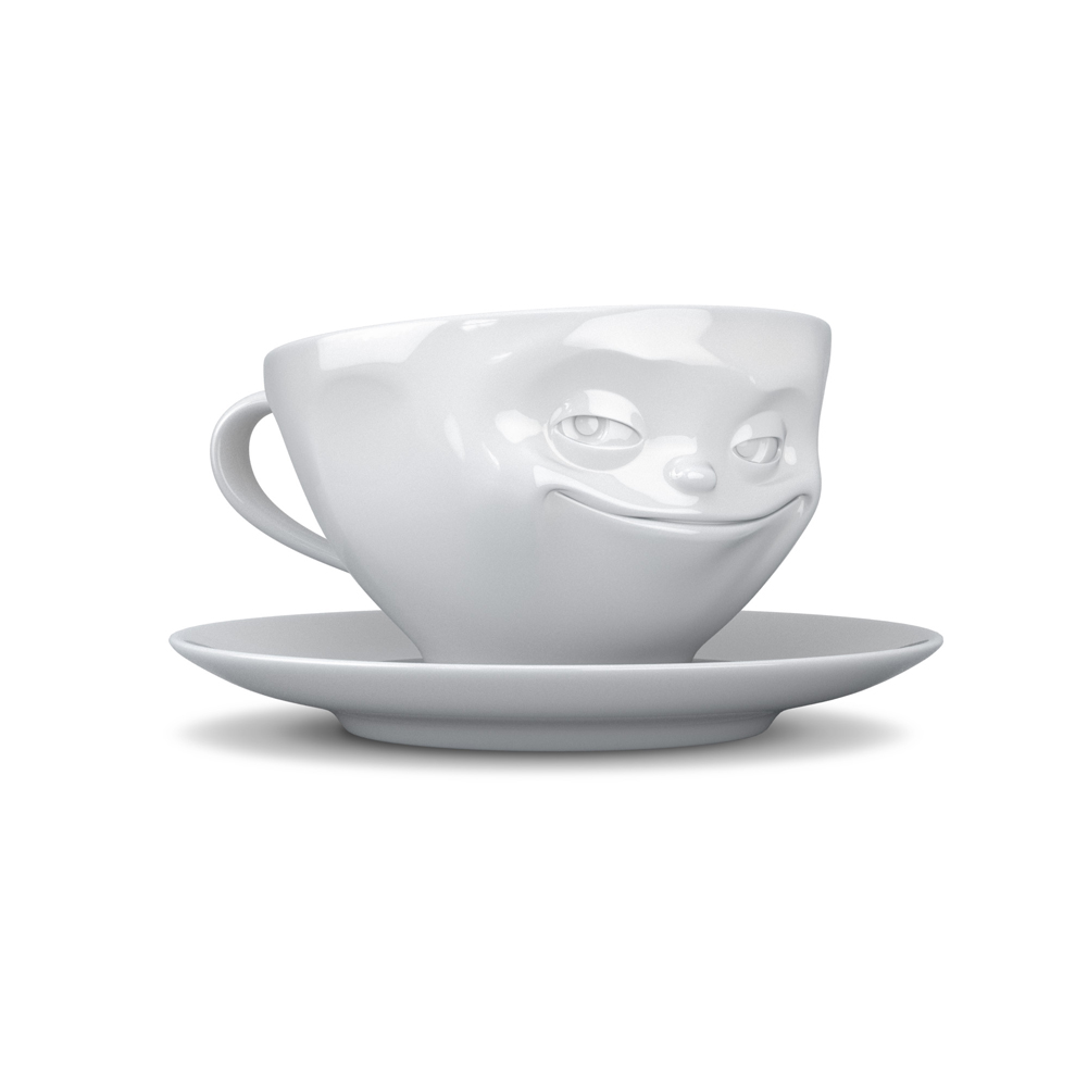 Coffee cup grinning