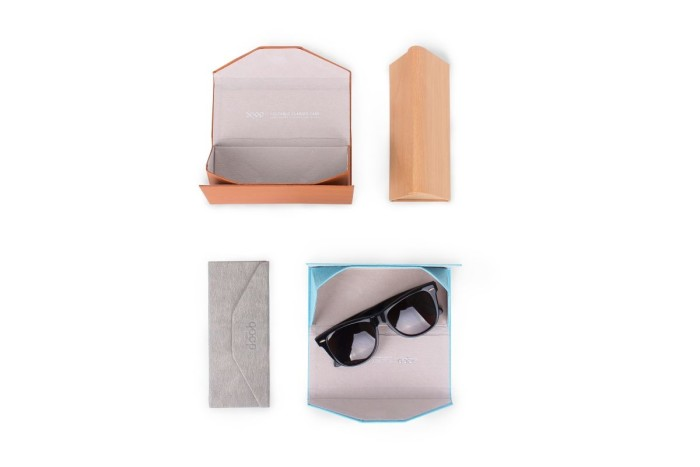 QP foldable glasses case pink