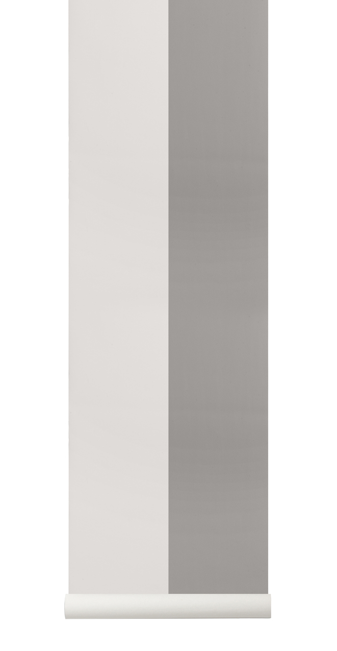 Ferm Living Behang Thick Lines Grey/Off-white