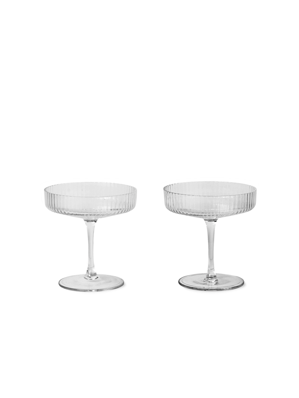 Ripple champagne glasses set 2 clear