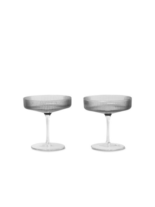 Ripple champagne glasses set of 2 smoked grey