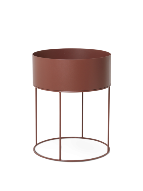 Plant box round red brown
