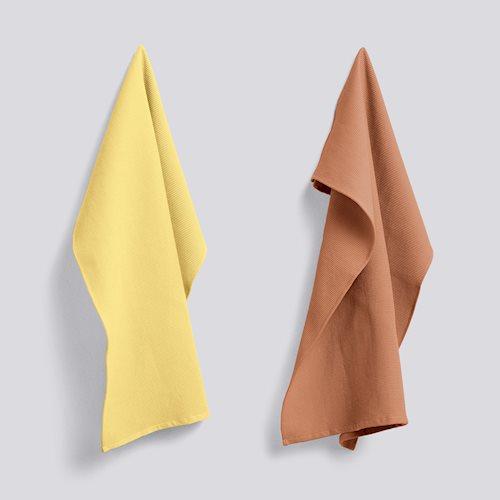 Hay Waffle Tea Towel Terra/Yellow set2