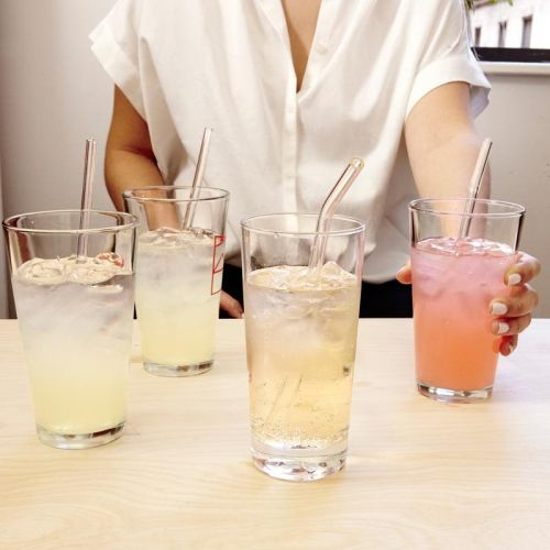 Clear Reusable Glass Straws s/6