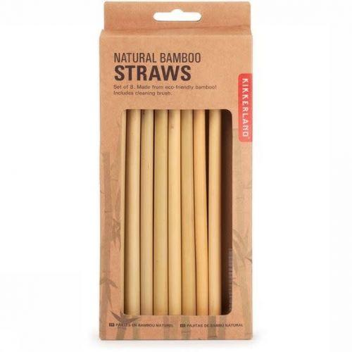 Natural Bamboo Straws set van 8