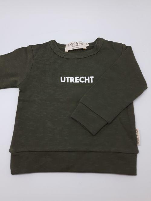 Sweater Utrecht kaki white 6 maanden