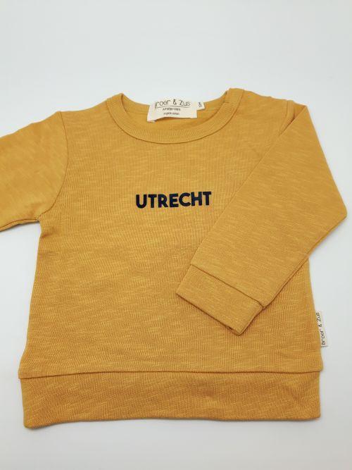 Sweater Utrecht mosterd navy flock 12 maanden