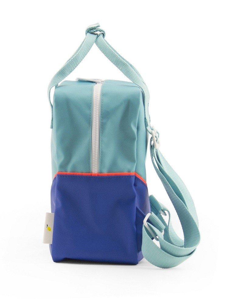 Backpack diagonal small retro mint/ink blue