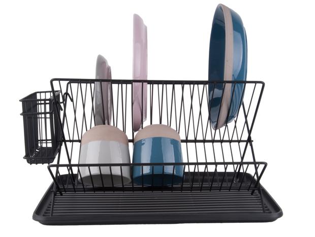 Dish rack black w. matt black tray