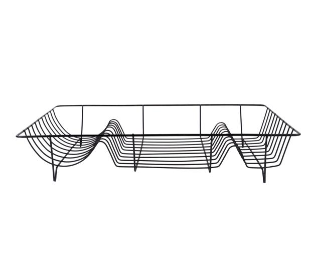 Dish rack linea black w. matt black tray