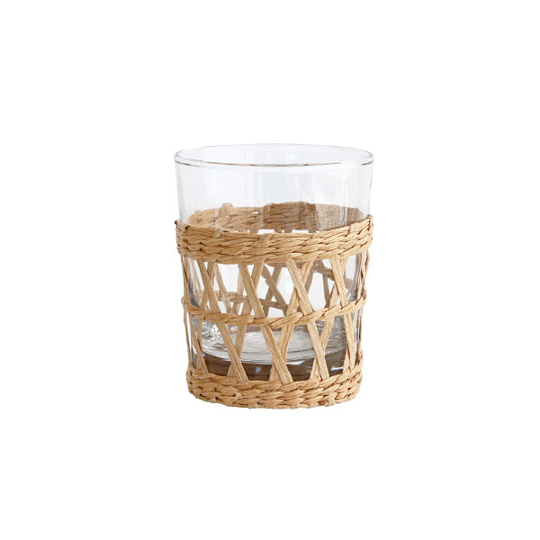 Drinking glass with wicker