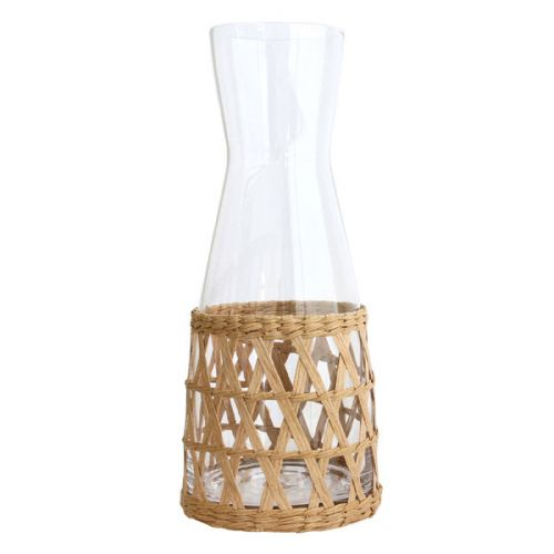Glass carafe with wicker