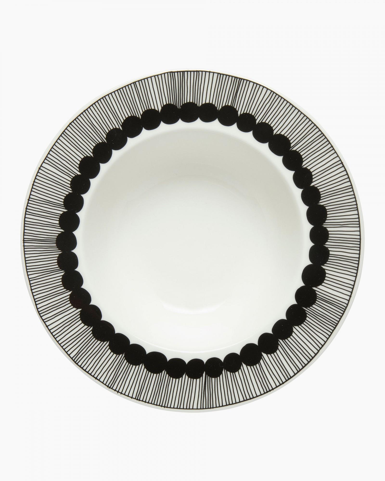 Marimekko Siirtolapuutarha Deep Plate White/Black