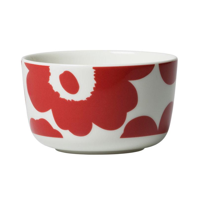 Oiva/Unikko bowl 2,5dl white/red
