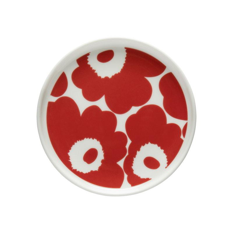 Oiva/Unikko plate 13,5 cm white/red