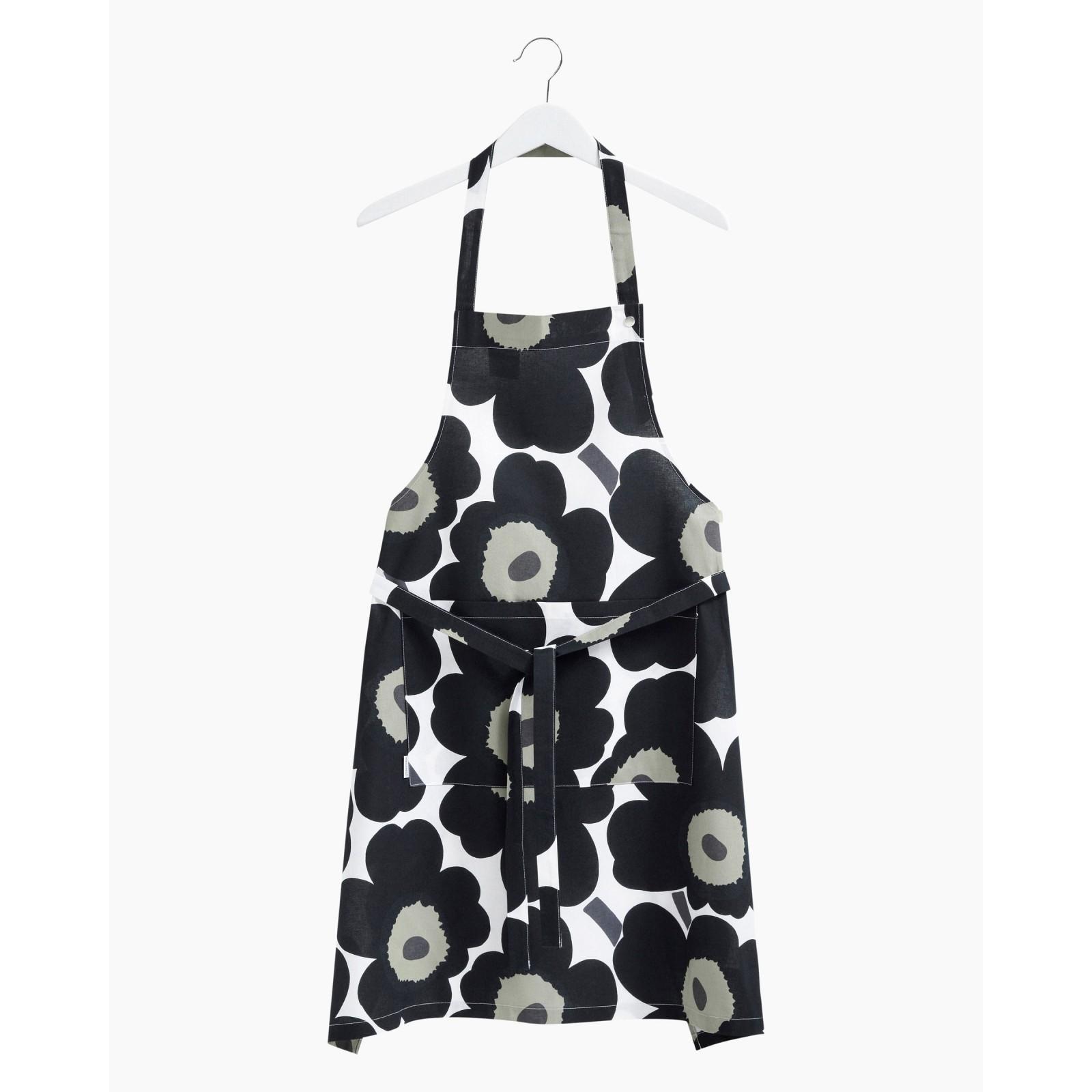 Pieni Unikko apron white, black, olive